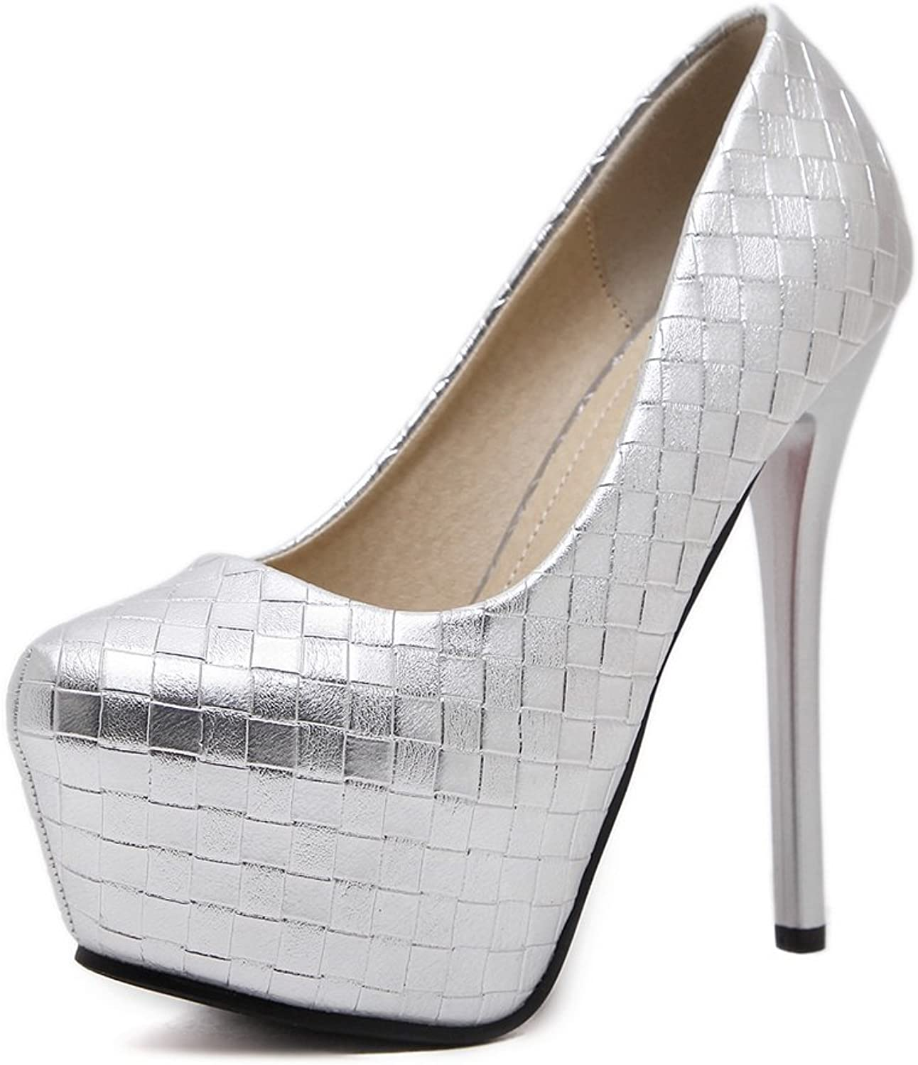 1TO9 Womens Spikes Stilettos Platform Low-Cut Uppers Silver Urethane Pumps shoes - 7 B(M) US