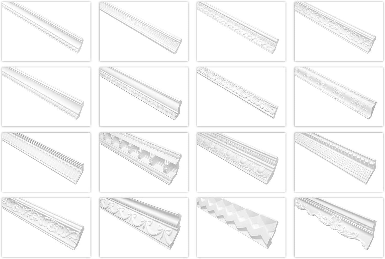 2 Meter Zierprofil 52x52mm AA047 Hexim Perfect Stuckleiste aus PU gemustert wei/ß sto/ßfest Eckleiste Dekorleiste Stuckprofil Zierleiste
