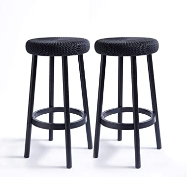 """Keter Resin Backless 26"""" Counter Height Stools Set of 2 for Patio and Outdoor Bar Seating, Dark Grey"""