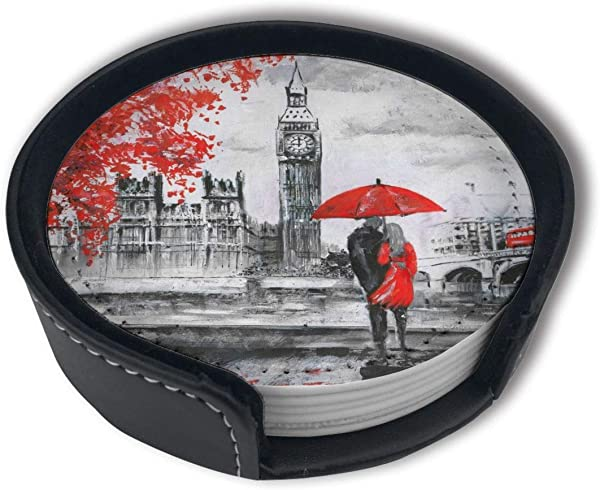 PDUOW London Couple Under Red Umbrella Coasters For Drinks PU Leather Coasters With Holder Protect Furniture From Damage 6PCS