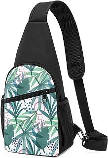 Lindo patrón tropical con hojas y ramas geométricas, bolso bandolera, mochila ligera para el pecho, bolsa cruzada, viajes,...