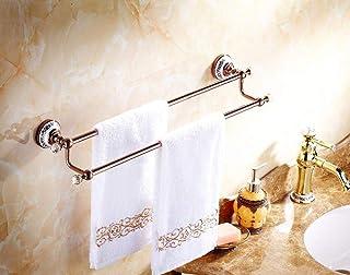 YBB-YB 浴室用ラック バスラック 壁掛けレールラックハンガーラック銅二極バスルームのペンダントは、バスルームには、金の延べ棒のバスルームローズレールを壁面に取り付けられたバー 収納 壁掛け棚