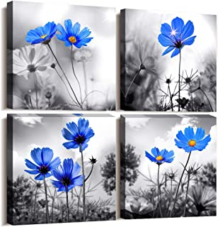 Canvas Wall Art for Kitchen Simple Life Black and White Landscape Cyan Blue Flowers Wall Decor for Bedroom Artwork 12