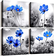 hyidecor art Wall art 4 Panel Modern Salon Theme Black and White Plant The Blue flower Flower Abstract Painting Still Life Canvas Wall Art for Home Decor Flower Canvas Print For Living Room Decor