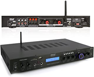Pyle - 5 Channel Rack Mount Bluetooth Receiver, Home Theater Amp, Speaker Amplifier, Bluetooth Wireless Streaming, MP3/USB/SD/AUX/FM Radio, 200 Watt, w/ Digital ID3 LCD Display from - PDA7BU,Black