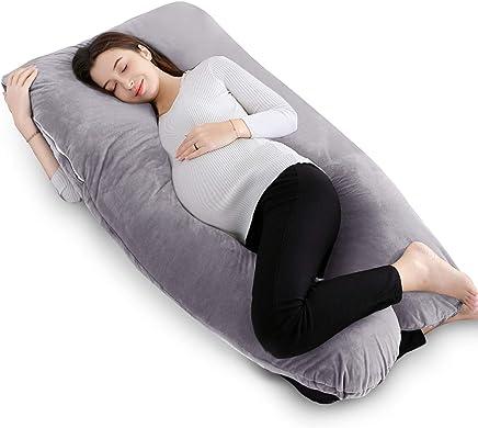 "QUEEN ROSE 55"" Pregnancy Pillow U Shaped,Full Body Pillow with Velvet Cover, Gray"