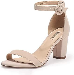 Women's IN3 Amy Chunky Block Heels Pump Heeled Sandals Ankle Strap Open Toe Dress Wedding Shoes