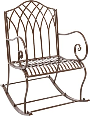 VINGLI Patio Rocking Chairs with Antique Brown Finish, Outdoor Garden Iron Art Scroll Rocker for Courtyards, Pools, Lawns, Ba