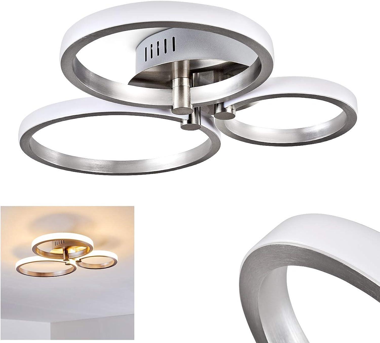 LED Deckenleuchte Volonne, Deckenlampe aus Aluminium in Silber mit drei runden Lichtleisten, 18 Watt (insgesamt), 1100 Lumen insgesamt, Lichtfarbe 3000 Kelvin (warmwei)