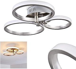 Lámpara de techo LED Volonne - con tres luminarias redondas de listón de aluminio plateado - pasillo - cocina - salón - dormitorio