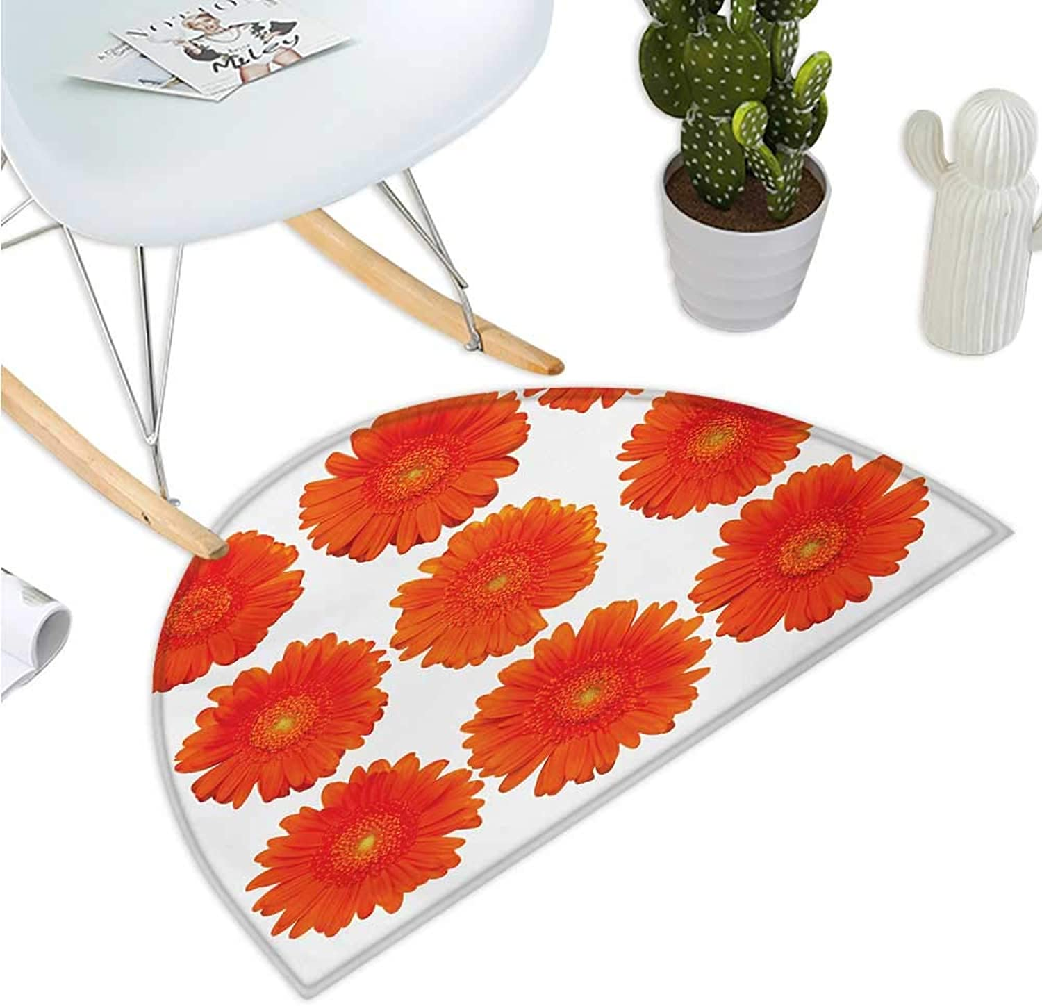 orange Half Round Door mats Collection of orange Gerberas Botanical Bouquet Seasonal Growth Garden Spring Theme Entry Door Mat H 39.3  xD 59  orange