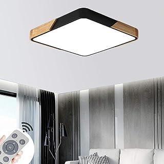 CASNIK 60W Plafonnier de LED,Bois Moderne LED Plafonnier Luminaire Intérieur Dimmable Lampe de Plafond pour salon, Cuisine...