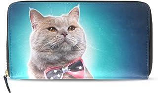 旅立の店 長財布 人気 レディース メンズ 大容量多機能 二つ折り ラウンドファスナー PUレザー  猫柄 リボン ウォレット