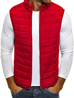 Zipper Puffer Hoodie Standing Collar Vest Men Quilted Padded Sleeveless Jackets Gilet Casual Work Travel Outdoor