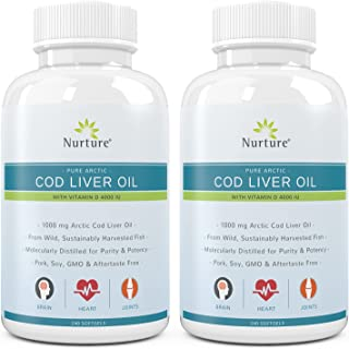 Pure Arctic Cod Liver Oil with Vitamin D 4000 IU (2-Pack) | 1000 mg Cod Liver Oil – Promotes Brain, Joint & Cardiovascular...