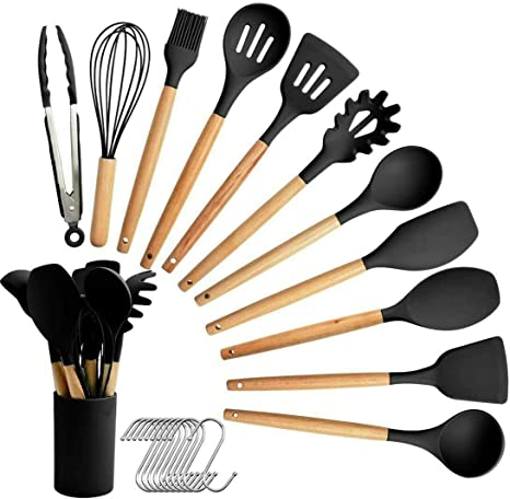 SZBOB 19pcs Kitchen Utensils Tools Wooden Handle Spoons Silicone Utensil Set Spatulas Set Cookware Turner Tongs Kitchen Gadgets with Holder Black Kitchen Utensil Set Silicone Cooking Utensils