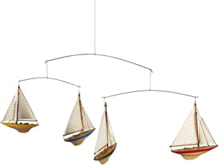 Authentic Models A-Cup Mobile with 4 Colorful Wood J-Yacht Miniatures