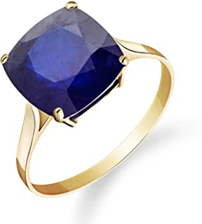 💎Galaxy Gold💎 14K Solid Yellow Gold Ring Natural Cushion 4.83 Carat Sapphire