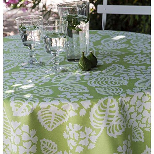 Nappe coton enduit Hortensia vert ronde Ø160 ~ Fleur de Soleil