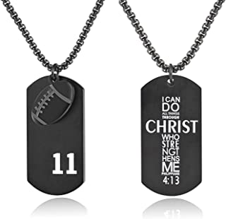 Boys' Football Player Number 11 Stainless Steel Cross Dog Tag Pendant I Can Do All Things Bible Verse Necklace