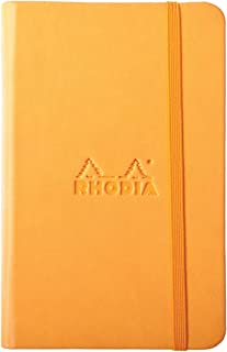 Rhodia Rhodiarama Webnotebook, Webbie - Faux Leather Hardcover. 96 Lined Sheets (192pgs) Ivory Paper - 15 Colors, 2 Sizes - Great Journal, Diary, Notebook (Orange/Black, 3 1/2 x 5 1/2 Lined)