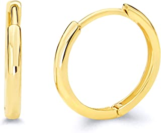 14k Yellow Gold 2mm Thickness Hoop Huggie Earrings - 3 Different Size Available