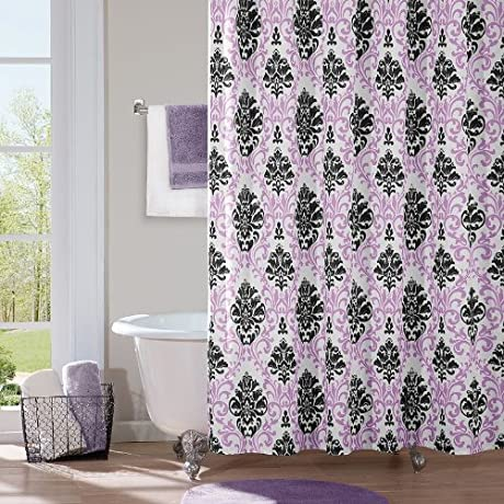 Lilac and black damask shower curtain