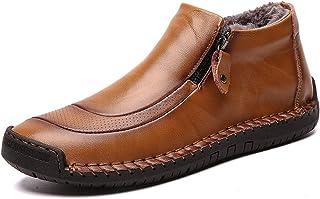 comprar comparacion LIEBE721 Botas de Invierno de los Hombres de Velvet Retro cómodos Zapatos de Nieve de Cuero de la Cremallera cómoda para C...