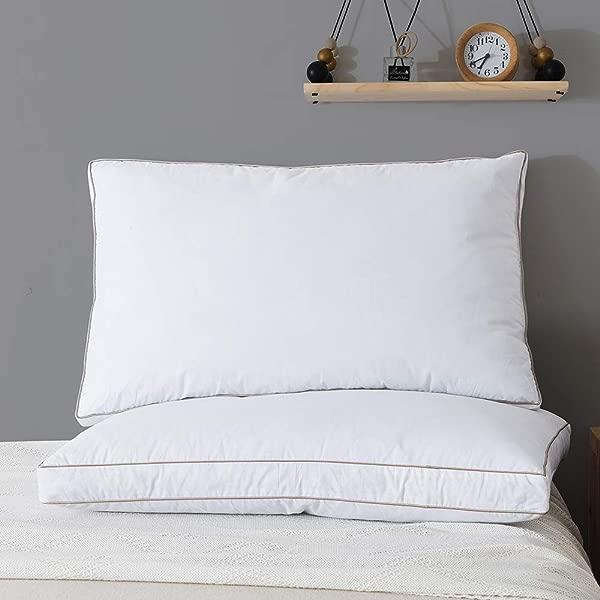 Whats床上用品天然鹅绒羽毛睡觉枕头 100 纯棉枕套带降温床枕头一套 2 个大号枕头插入物