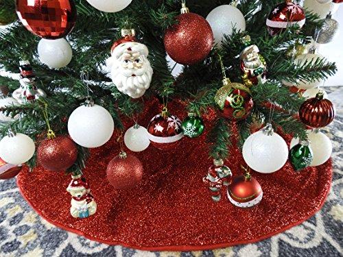 42\' Red Shinny Tinsel Christmas Tree Skirt - Red