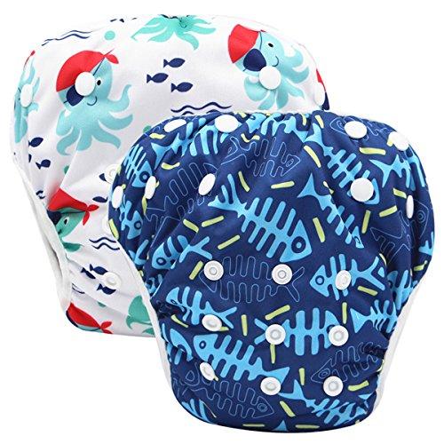 Storeofbaby Pannolini da nuoto Baby pannolini riutilizzabili Cover impermeabile per 0-36 mesi Unisex Confezione da 2