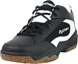 Python Wide (EE) Width Indoor Mid Racquetball (Squash, Indoor Pickleball, Badminton, Volleyball) Shoe (White and Black Col...