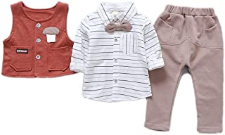 JIANLANPTT 3 Piece Striped Long-Sleeve Shirt Vest and Pants Set for Toddler Boy