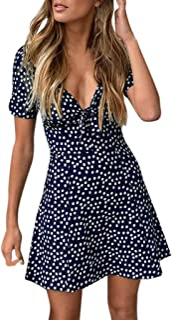 Clearance! Womens Summer Mini Dresses, Casual Sexy V Neck Short Sleeve Bodycon Beach Party Dot Sundress