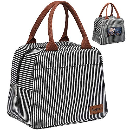 Lunch Bag Bagseri Insulated Lunch Box for Women and Men with Transparent Phone Holder Pocket Reusable Lunch Cooler Bags Thermal Organizer Water-resistant Lining Black White Stripe