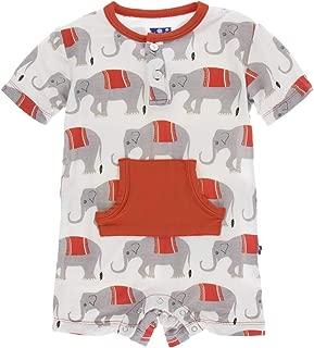 Kickee Pants Baby Boys' Print Short Sleeve Henley Romper Prd-kphenr65-cipa