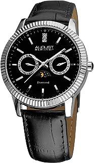 August Steiner Men's Black Leather Band Watch - AS8051BK