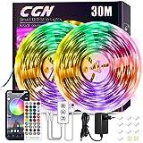 30M Tiras LED, CGN Tira de Luz LED Bluetooth Multicolor Luces LED RGB 5050 Iluminación de Música con Control Remoto de 40 Teclas 16 Millones Colores 28 Estilos Decoración Para Habitación Fiestas