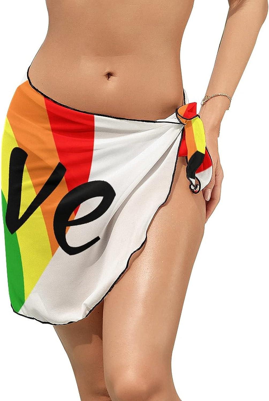 Women Beach Wrap Skirt Chiffon Sarong Pareo Swimsuit Bikini Cover Ups Gay Pride LGBT Rainbow Love