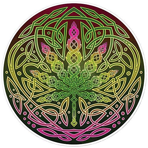 Celtic Cannabis - Bumper Sticker/Decal (4.5' Circular)