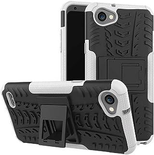 Jtailhne Kompatibel med Fodral LG Q6 Plus, Heavy Duty StöTsäKer Fodral med SparkstäLl Skal PC TPU Hybrid Rugged Armor Vit...