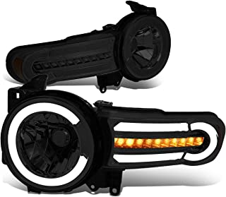 DNA MOTORING Smoke/Amber HL-LB-FJC07-SM-AM Pair LED DRL+Sequential Chasing Turn Signal Headlight Lamps Set