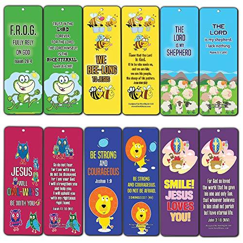 Bookmarks for Kids Children (60 Pack)- Animal Religious NIV Bible Cards - Lion Bee Frog Owl Sheep - John 3:16 Christian Gifts Wall Room Decor Homeschooling Scrapbooking Journal Art Craft