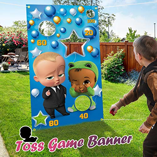 PAKBOOM Toss Games Banner Backdrop Indoor or Outdoor Theme Birthday Party Decorations Supplies for Kids Family