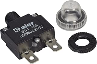 Zephyr 15 Amp DC Circuit Breaker Push-Button Reset with Quick Connect Terminals and Waterproof Button Cover