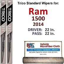 Wiper Blades for 2014 Ram 1500 Driver & Passenger Trico Steel Wipers Set of 2 Bundled with Bonus MicroFiber Interior Car Cloth