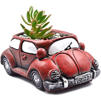 Orange VW Beetle Car Decor Pot Planter Glazed Pot Planters