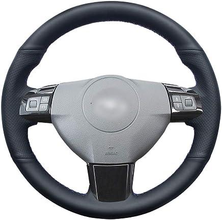 HCDSWSN Cubierta del Volante del Coche de Cuero Genuino Negro Cosida a Mano para Opel Astra