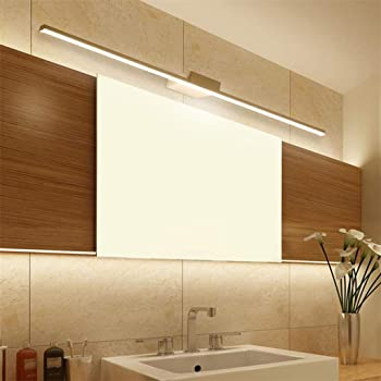 BiuTeFang 22W Lampada da Specchio per,Moderno Luci bagno,AC85-265V,IP44 Luci da specchio,WC Acciaio inossidabile Lampada da parete Luce bianca calda 120cm