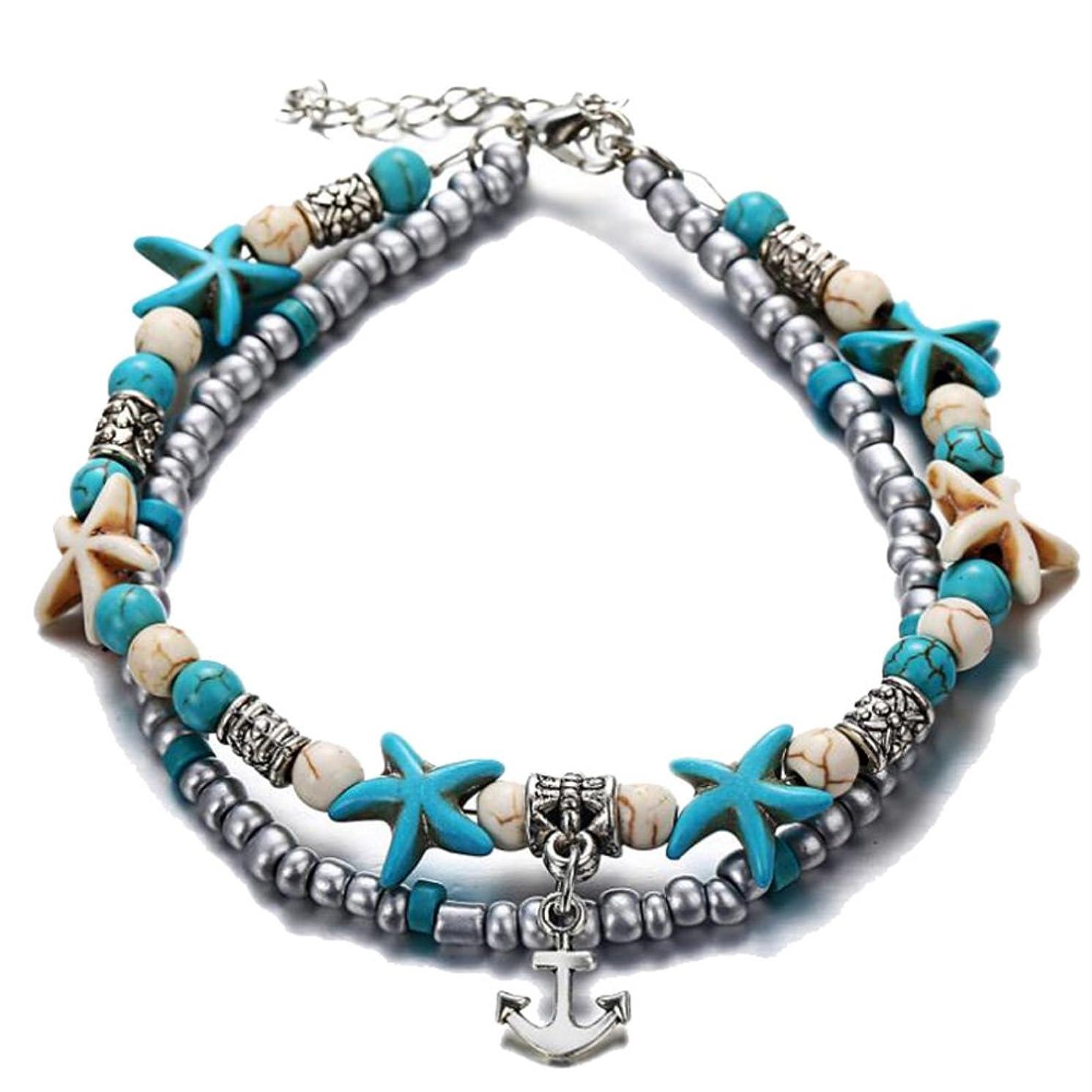 TTPAIAI 30 Starfish Anklets Bracelet for Women Girls Beads Beach Boho Foot Jewelry